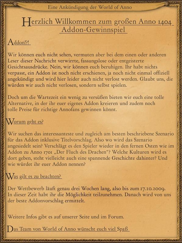 World of Anno - Addon Gewinnspiel
